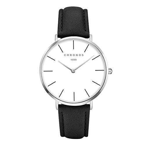 Relojes Mujer y Hombre Ultradelgado Cuero Clásico, Negro-Plata