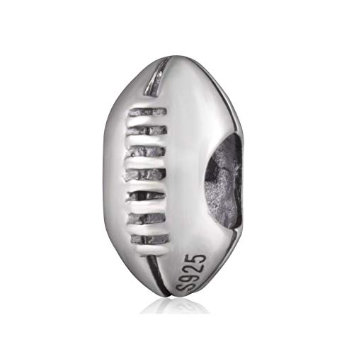 American Football Charm 925 Sterling Silver Rugby Ball Beads Fit Sport Bracelet Gifts for Boy