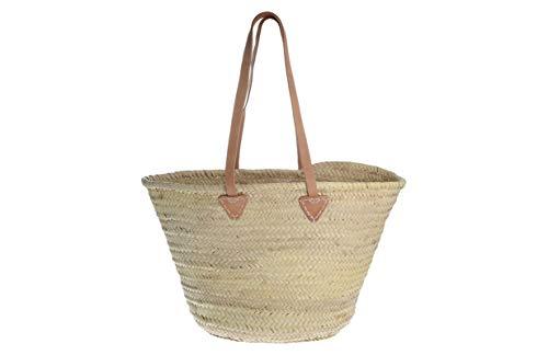 Afrikan Bags - Bolso Capazo de Palma | Bolso de Palma de Base Oval con Asa Bandolera - 54 x 17 x 33 cm