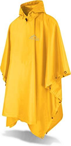 normani Outdoor Sports Regenponcho mit Kapuze - Wassersäule: 6000 mm - Regenjacke für Damen und Herren Farbe Signalgelb