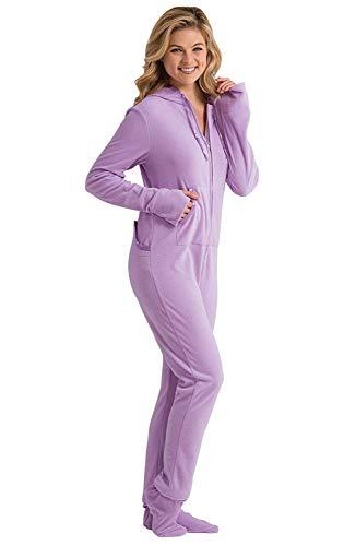 PajamaGram Womens Onesie Fleece PJ Drop Seat Pajamas Women, Purple, Medium 8-10