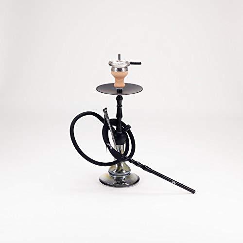 CRT | Shisha - ECO Mini | Wasserpfeife mit Klickverschluss | Hookah Set | 47 cm | mit Silikonschlauch, Alumundstück, Kaminkopf + Kaminaufsatz + Kohlezange |+ RdO Sticker (Black - Shiny Black)