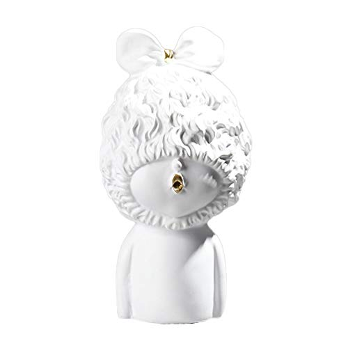 HEALLILY Cabeza de Resina Estatua Bebé Cabeza Escultura Decorativa Mesa Estatuilla Arte Escritorio Estatua Ornamento para Oficina en Casa Escuela
