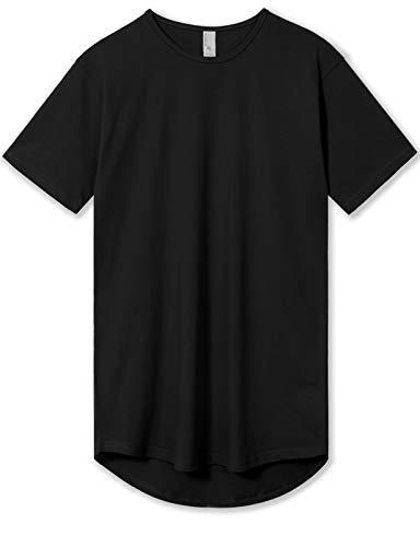 Men's Hipster Drop Cut Curved Hem Long Line T-Shirts Back Tail L Black