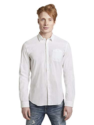 TOM TAILOR Denim Blusen, Shirts & Hemden Hemd mit Stretchanteil White, L