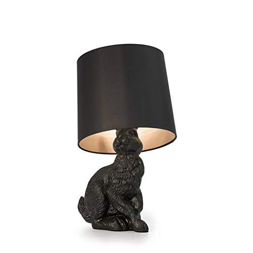 Lámparas de Mesa Lampara mesita Noche Rayo Negro escultural Conejo lámpara de Mesa W/Sombra Negro de 20 Pulgadas Mesilla de Noche Lámpara de Mesa