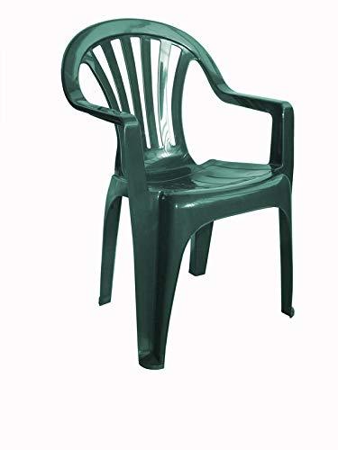 resol Nuevo Pals sillón Silla con Brazos de plástico para jardín Exterior terraza - Color Verde Oscuro, Set de 4 Unidades