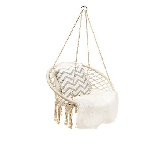 GIANTEX - Sillón colgante con cuerda trenzada a mano de algodón, silla colgante cómoda para interior y exterior, capacidad 150 kg (beige).