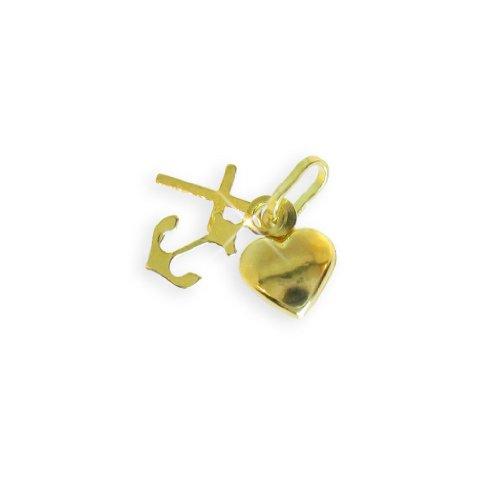 Glücks Charm Glaube & Liebe & Hoffnung Bettelarmband Anhänger echt 14 Karat Gold 585 (Art.211001)