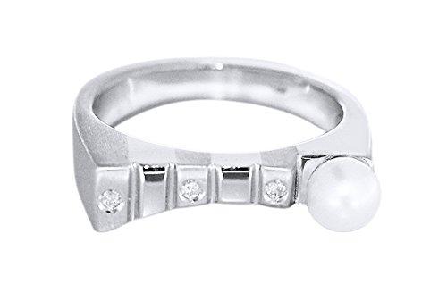 Hobra-Gold WEISSGOLDRING 585 MIT PERLE und Brillant RING WEISSGOLD Perlenring Damenring 14K