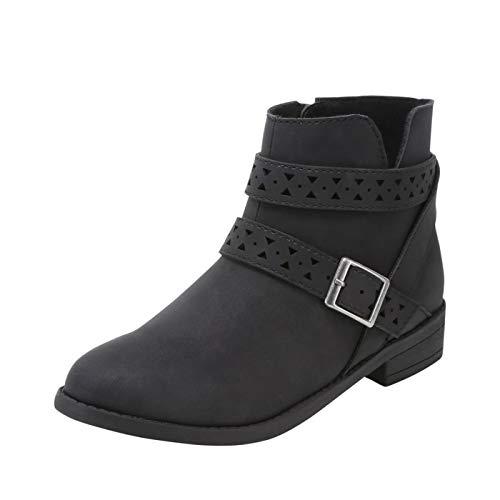 Zoe and Zac Black Suede Girls' Geri Buckle Boot 5 Regular