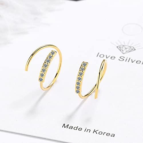 SONGK Pendientes de aro de Color Plateado, Pendientes de Cristal para Mujer, joyería de Oro de Moda Coreana para Mujer