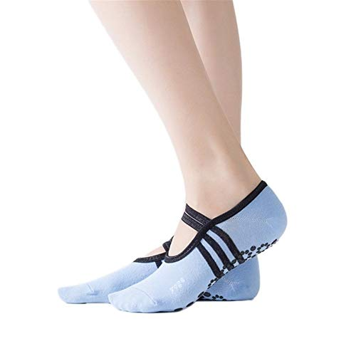 NLJYSH Yoga Pilates Ballet Danza Calcetines Calcetines Anti Slip Vendaje de algodón Deportes Ventilación Pilates Danza del Ballet de los Deslizadores del calcetín (Color : Blue)