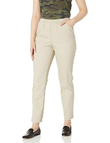 Chic Classic Collection Women's Stretch Elastic Waist Pull-On Pant, Khaki Slub Twill, 12P