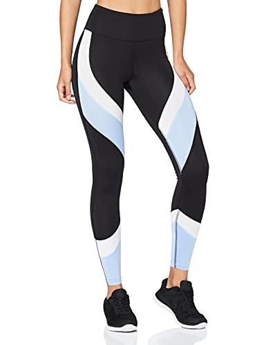 Aurique Leggings deportivos para Mujer, Negro (Black/Serenity/White), S