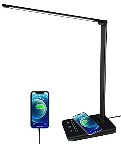 Lampada da scrivania LED, lampada da tavolo con ricarica wireless e porta di ricarica USB, 5 modalità di illuminazione 6 livelli di luminosità, protegge l