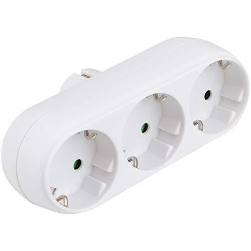 Wakauto Verteiler Steckdose Steckdosen Praktisch Dreifach Steckdose mit EU-Stecker Weiß, Mehrfachsteckdose Für die Küche perfekt, steckdosenadapter Einfach im Gebrauch und platzsparend.