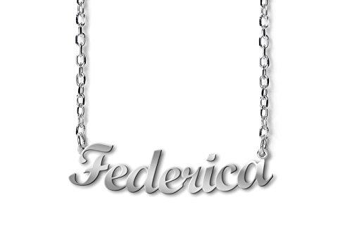 Collana con nome Federica in argento 925 rodiato anallergico Made in Italy modello CLASSIC G03