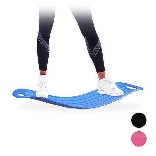 Relaxdays Twist Board, handliches Balance Board für Ganzkörpertraining, belastbares XL Workout Board bis 150 kg, blau