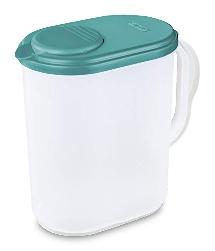 1 Gallon Pitcher Blue Lid w/Lime tab Freezer and Dishwasher Safe Mix Drinks right in the Pitcher Water Tea Juices BPA-free and phthalate-fre