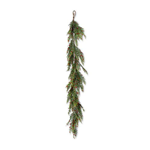 K&K Interiors 54514E 58 Inch Pine Pepper Berry Real Touch Garland, Green