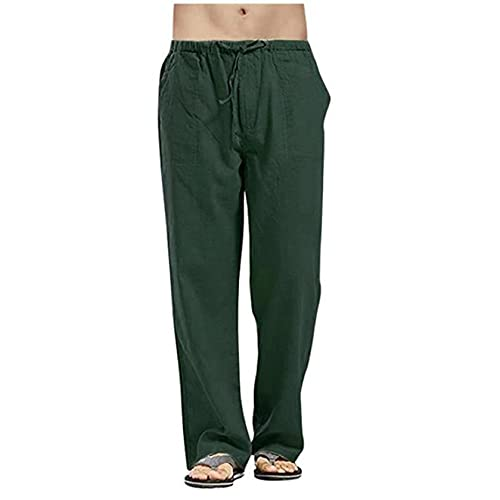 IMhope Mens Linen Trousers Loose Fit Casual Lightweight Breathable Elastic Waist Drawstring Yoga Beach Pants