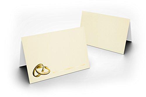 Lot de 100 cartons de table de mariage (pliées en 2 Crème avec or anneaux avec verni brillant UV pour mariage, Charmante décoration de table, format 8,5 x 11,2 cm