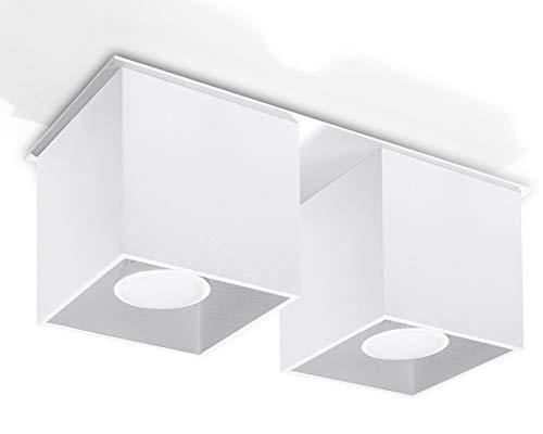 Sollux Lighting NIEUW witte keuken en de woonkamer-aluminium Sollux Quad 2 SL.0065 vierkante minimalistische plafondlamp Loft 1-FLG. LED GU-10 lampen - bij Amazon voor de voordeligste prijs