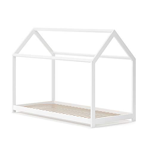 VitaliSpa Hausbett Wiki Weiß Kinderbett Kinderhaus Kinder Bett Holz Matratze (Weiß Lackiert, 90 x 200 cm)