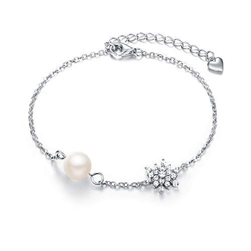 EVER FAITH Mujer Plata de ley 925 Pulsera Perla Zirconias Copo de nieve Elegante para regalo novia boda fiesta noche Claro