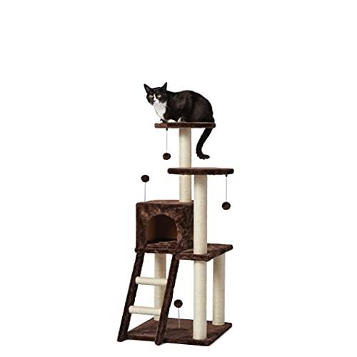 Amazon Basics - Torre en árbol con cerramiento y plataforma doble para gatos, grande, 48,3x127x48,3 cm, marrón oscuro