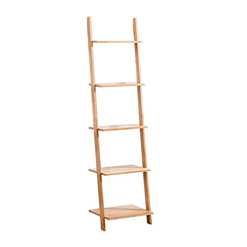 JCNFA planken Trapezoid Stitching Boekenplank, 5 Planken, Woonkamer Slaapkamer Boekenplank, Bamboe Planken Tegen De Muur, Opslagrek Voor Badkamer Woonkamer