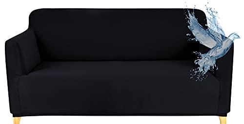 Funda Sofa 2 Plazas Impermeable Fundas para Sofa Elasticas Funda de Sofa Ajustables Antideslizante Protector Fundas Sofa, Negro