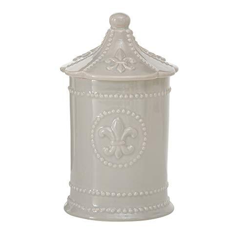 Home Collection Maison Cuisine Meubles Accessoires Conservation Pot en Céramique Décoré avec Chapeau Gris H 20 - Ø 11 cm