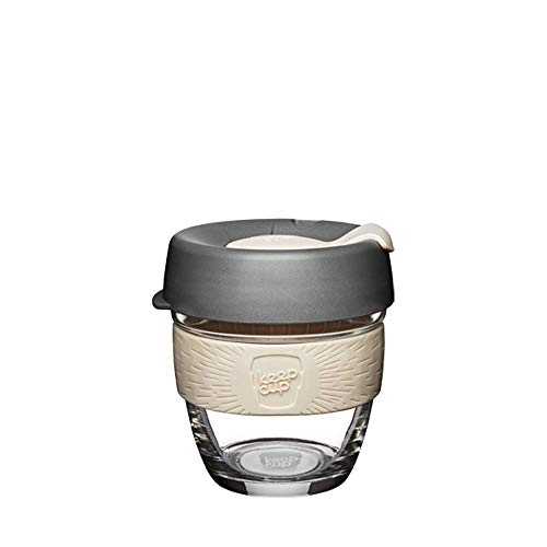 KeepCup 8oz Reusable Coffee Cup. Toughened Glass Cup & Non-Slip Silicone Band. 8 oz/Small, Chai