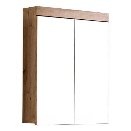 trendteam smart living Badezimmer Spiegelschrank Spiegel Amanda, 60 x 77 x 17 cm in Asteiche / Weiß Hochglanz ohne Beleuchtung