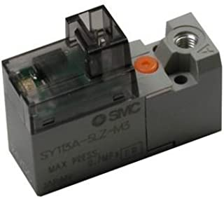 SMC SY114-5LOZ - Air Control Valve - Base Mounted, 4-Way, 1 Solenoids, Number of Positions 2, L Plug, 0.14 mm² Flow Coefficient, Non-Locking Push Type