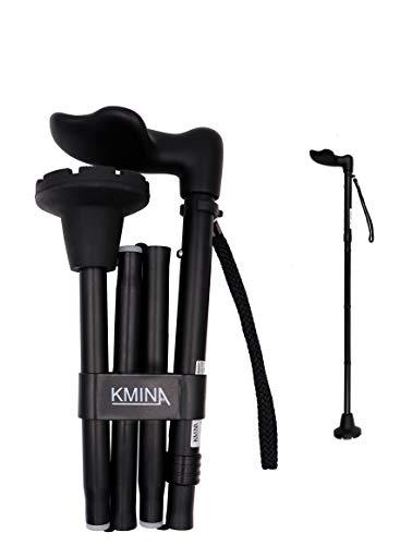 KMINA - Cane Ergonomic Handle (Left Hand), Ergonomic Cane Left Handed, Ergonomic Walking Cane, Ergonomic Grip, Folding Cane, Ergonomic Canes for Men Adjustable, Canes for Women, Palm Grip Cane.