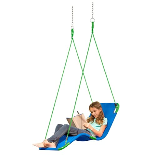 HearthSong Hanging Lounge Tree Swing for Kids, 54' L x 20' W Weather-Resistant Polypropylene Mat...