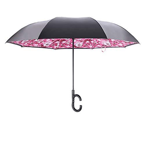 WNLBLB - Paraguas invertido, Doble Capa, Mango Largo, a Prueba de Rayos UV, Resistente a la Lluvia, Paraguas invertido, Paraguas Transparente, Lvaluminum, Morado, Size