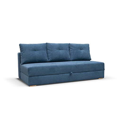 mb-moebel Sofa Couch mit Schlaffunktion und bettkästen Wohnzimmer Schlaffsofa VARDO (Blau)