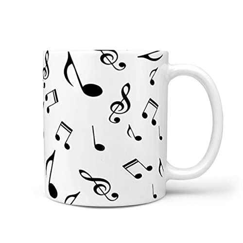 Tazas de café para piano y notas musicales durables para microondas - Piano y notas musicales Tazas de café con mango grande para té blanco 11 oz