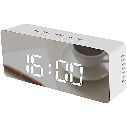 FGART Reloj Despertador Digital Pantalla LED Grande Temperatura De Humedad USB Recargable De Doble Función Tipo Brillo Mesita De Noche Reloj Despertador