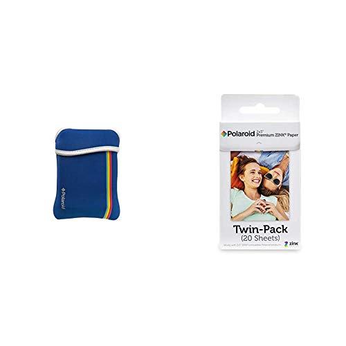 Zink Polaroid Neoprene Pouch for The Polaroid Zip Mobile Printer (Blue) & Polaroid 2x3ʺ Premium...
