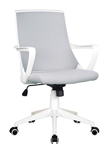 SixBros. Bürostuhl Drehstuhl Schreibtischstuhl Grau/Weiß 0722M/2240