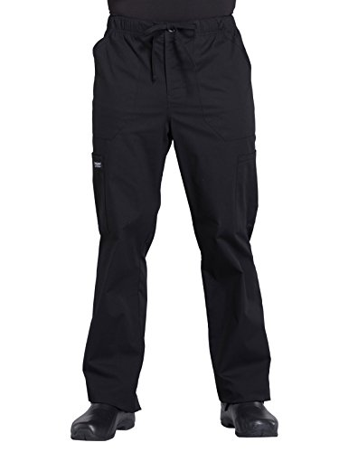 Cherokee Workwear Professionals Men's Tapered Leg Drawstring Cargo Scrub Pant, L Tall, Black