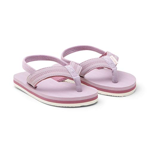 Hari Mari Brazos - Kid's Premium Rubber Flip Flops with Water-Friendly Nubuck Leather Straps - Mauve/Rose - Size K9