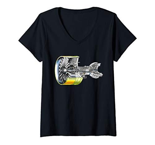 Damen Flugzeug-Strahltriebwerk Realistischer Flugzeugpilot T-Shirt mit V-Ausschnitt