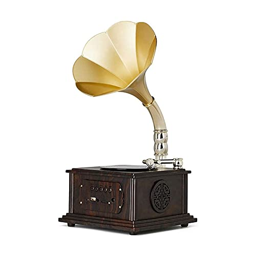 YAMMY Record players Retro, Mini Vintage Retro Classic Gramophone Phonograph Shape Stereo Speaker Sound System Music Box (A),Ho(Record players)