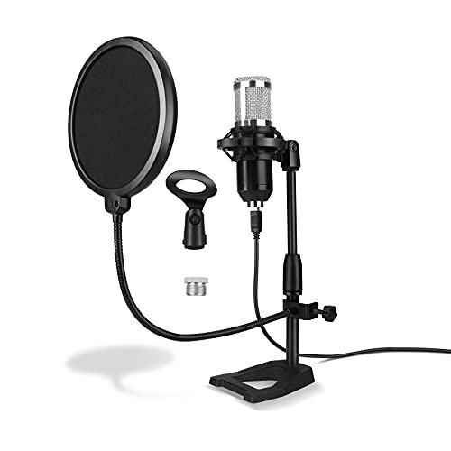 ShiniUni Soporte de micrófono para mesa, brazo de micrófono ajustable, con araña, protección antipop, adaptador de 3/8 a 5/8 pulgadas, clip de micrófono